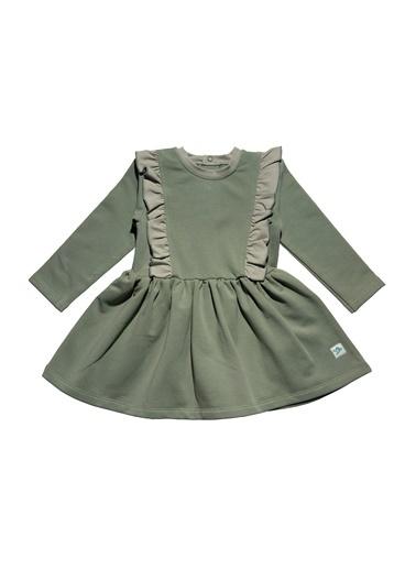 Nila Kids Koyu Yeşil Rengi Omuzları Fırfırlı Kız Bebek Organik Elbise NK09005KY (6 AY- 5 YAş) Renkli